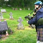 Did this Bagpiper outdo himself at this funeral?